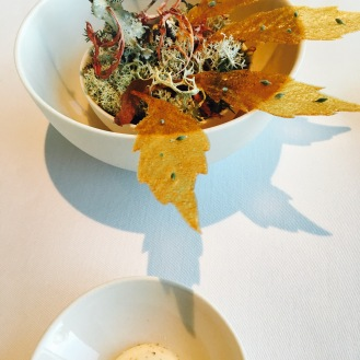 Jerusalem Artichoke Leaves, Hazelnut Oil & Rye Vinegar